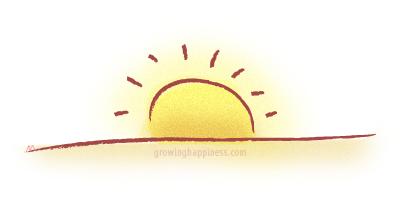 Illustration of a setting sun